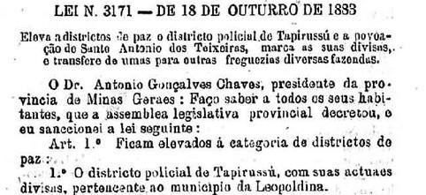 Recorte da Lei n. 3171 de 18 de outubro de 1883