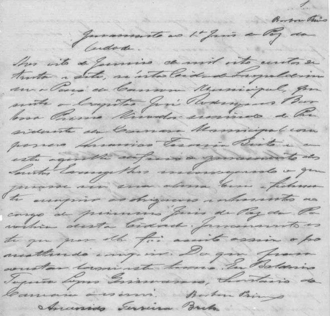 Juramento do Juiz de Paz Ananias Ferreira Brito