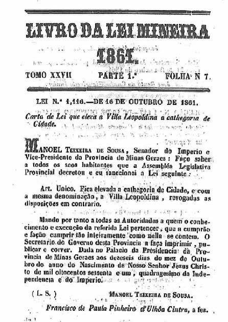 Vila Leopoldina é elevada à categoria de cidade.