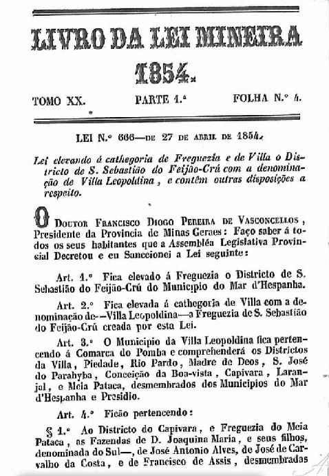 Lei de emancipação do Distrito do Feijão Cru