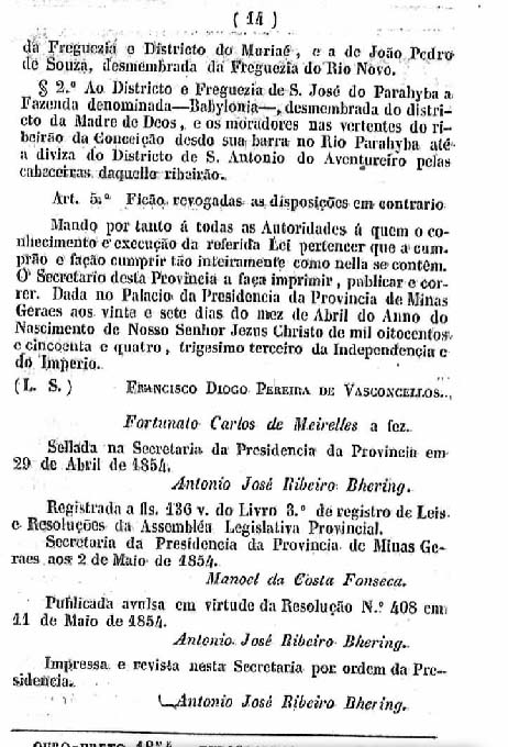 Continuação a Lei de emancipação do Distrito do Feijão Cru