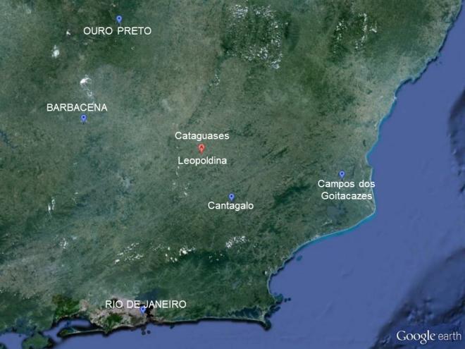 Localização de Leopoldina pelo Google Earth