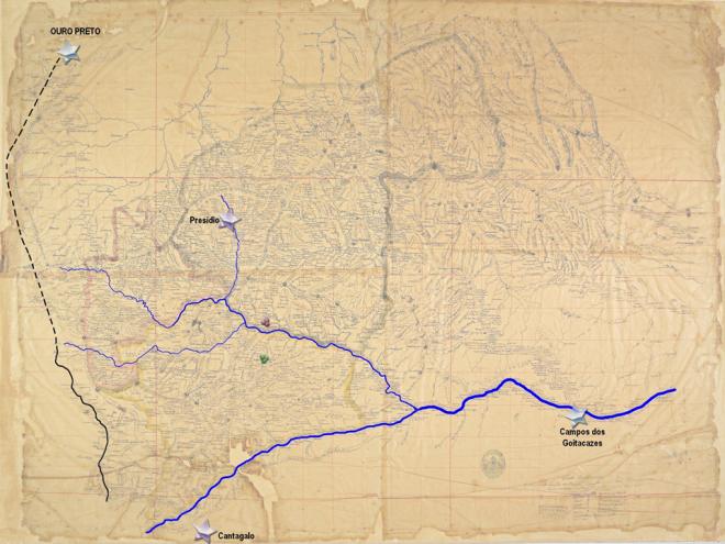 Paraíba do Sul, Pomba, Novo e Xopotó, além do Caminho Novo à esquerda e das localidades de Ouro Preto, Presídio, Campos dos Goitacazes e Cantagalo