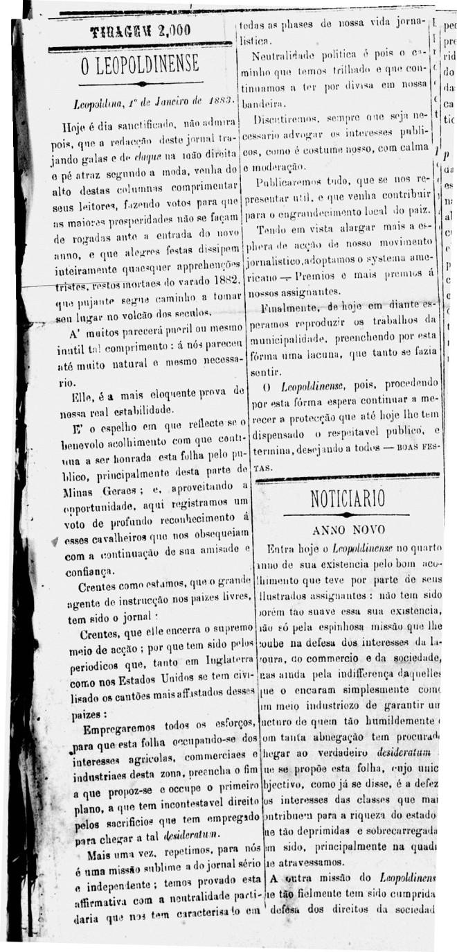 Editorial de aniversário  do jornal O Leopoldinense