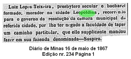 Fazenda Suspiro, Leopoldina, 1867