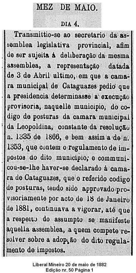 Câmara Municipal de Cataguases pede para adotar as Posturas Municipais de Leopoldina