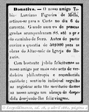Donativo para as obras da Igreja do Rosário, Leopoldina, MG