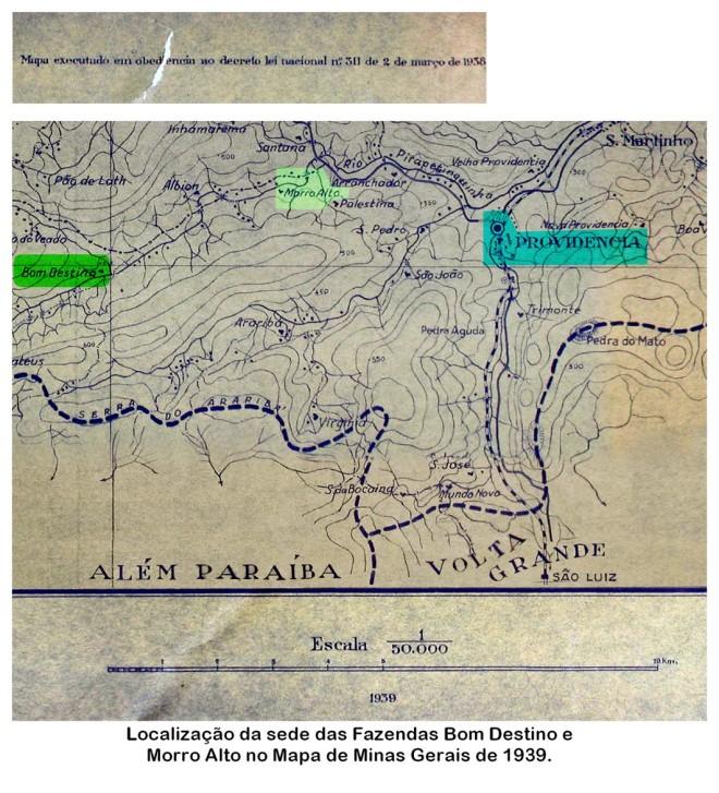 Localização de antigas fazendas de Leopoldina