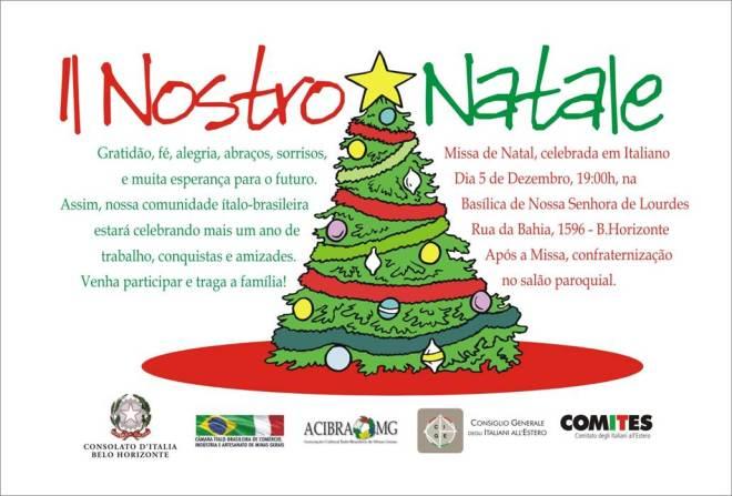 Convite para Missa Natalina em italiano, em Belo Horizonte, MG